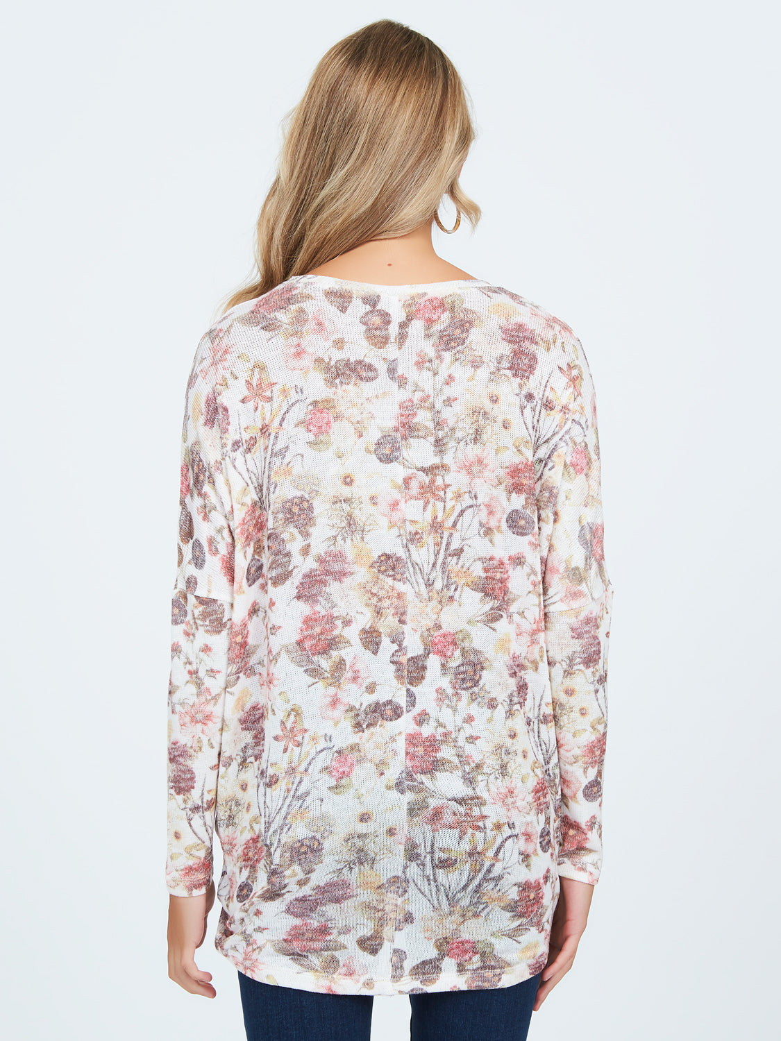 Floral Sublimation Print Sweater Knit Top