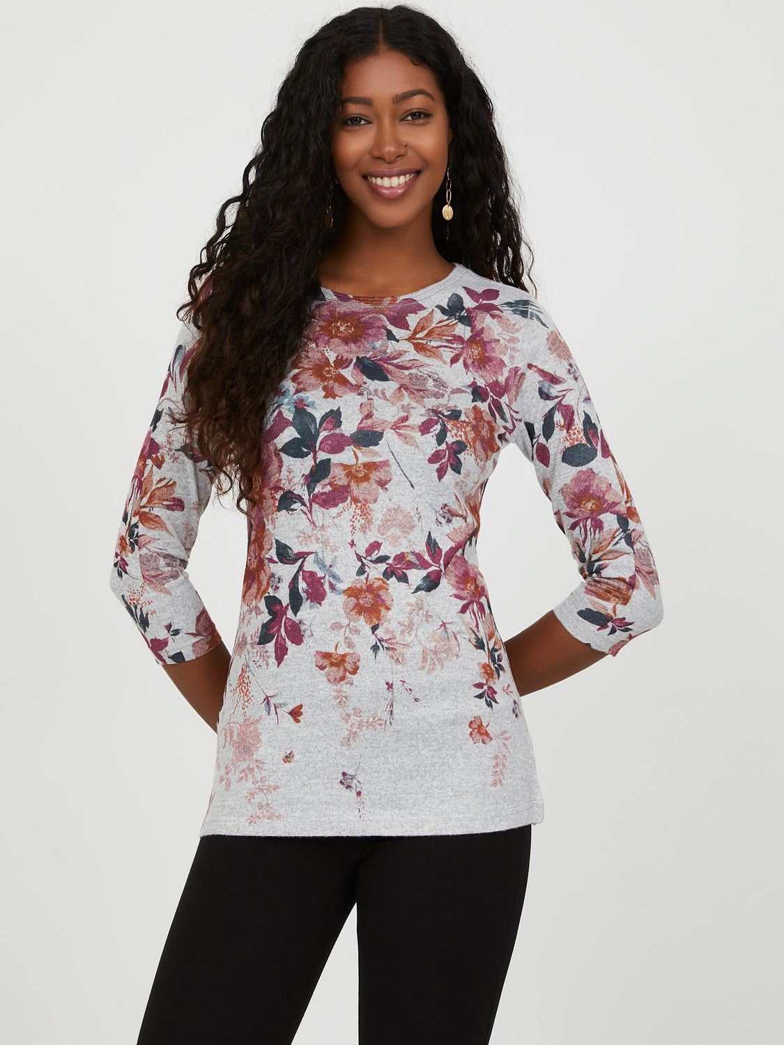 ¾ Sleeve Floral Knit Top