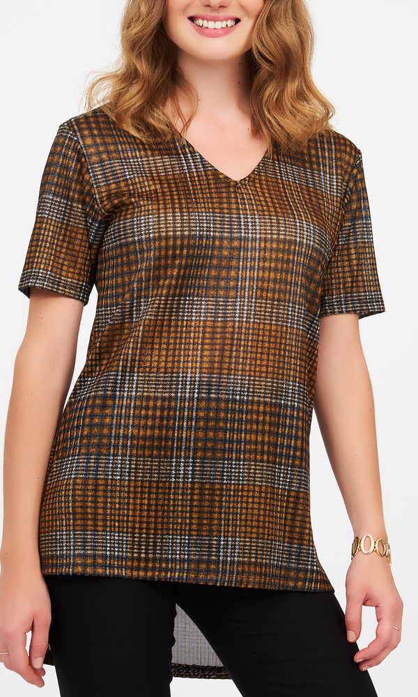 Plaid V-Neck Ribbed Tee