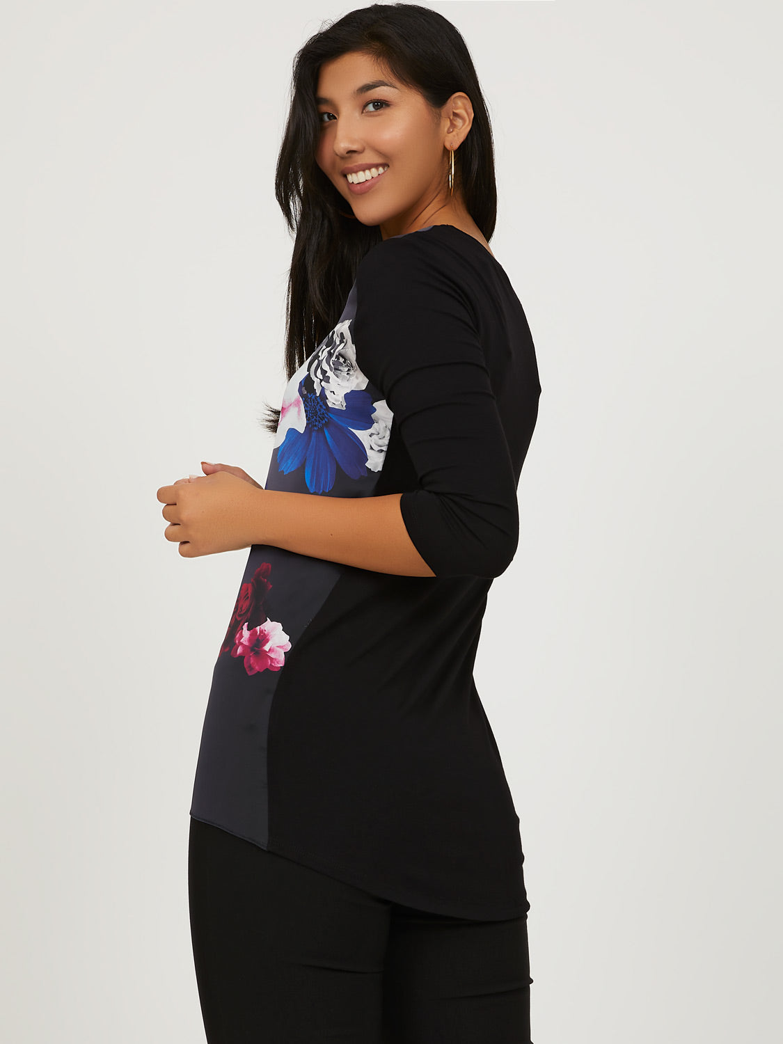 Floral Print Satin Tunic Top