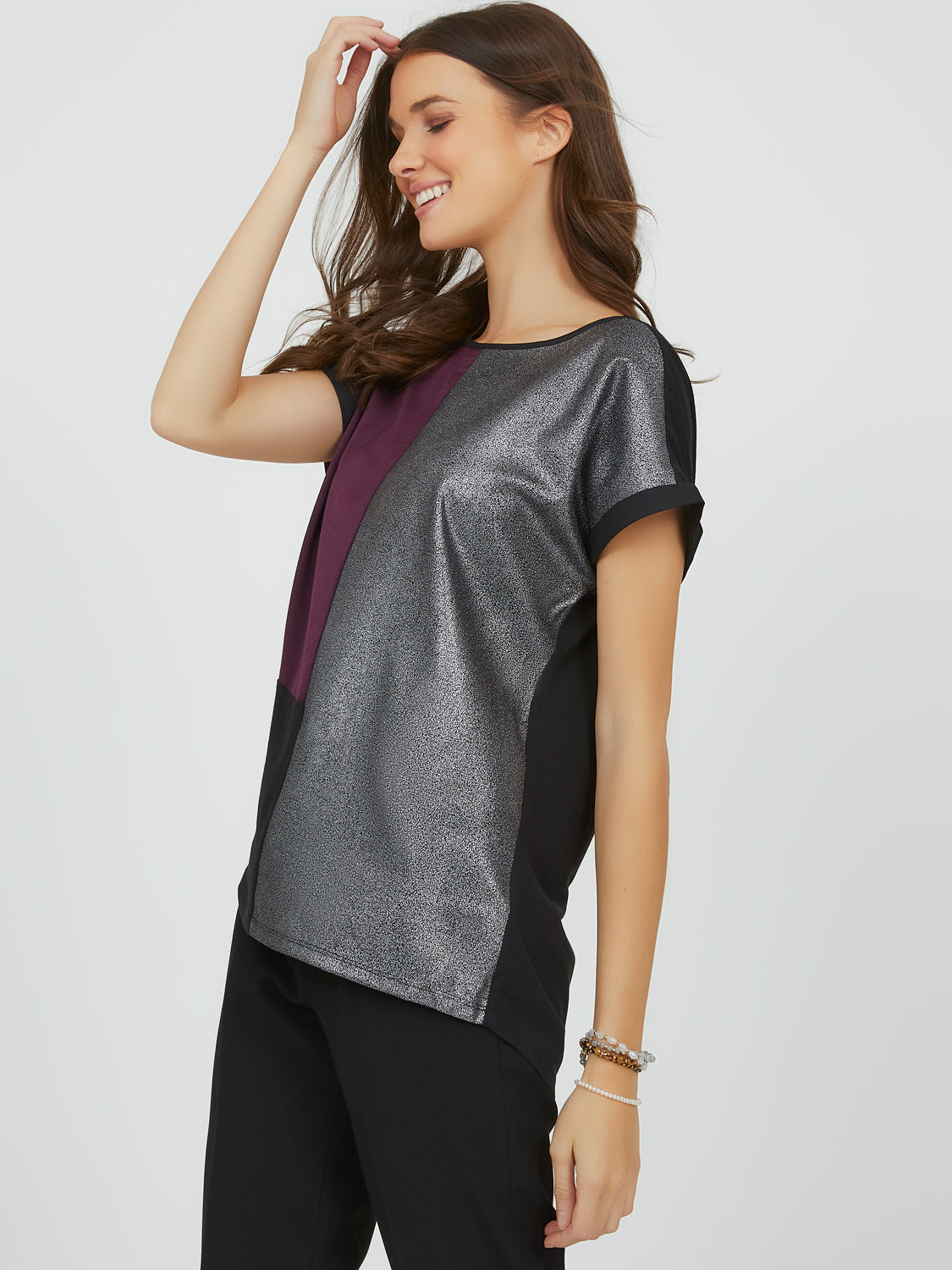 Foil Crepe Colour Block Top