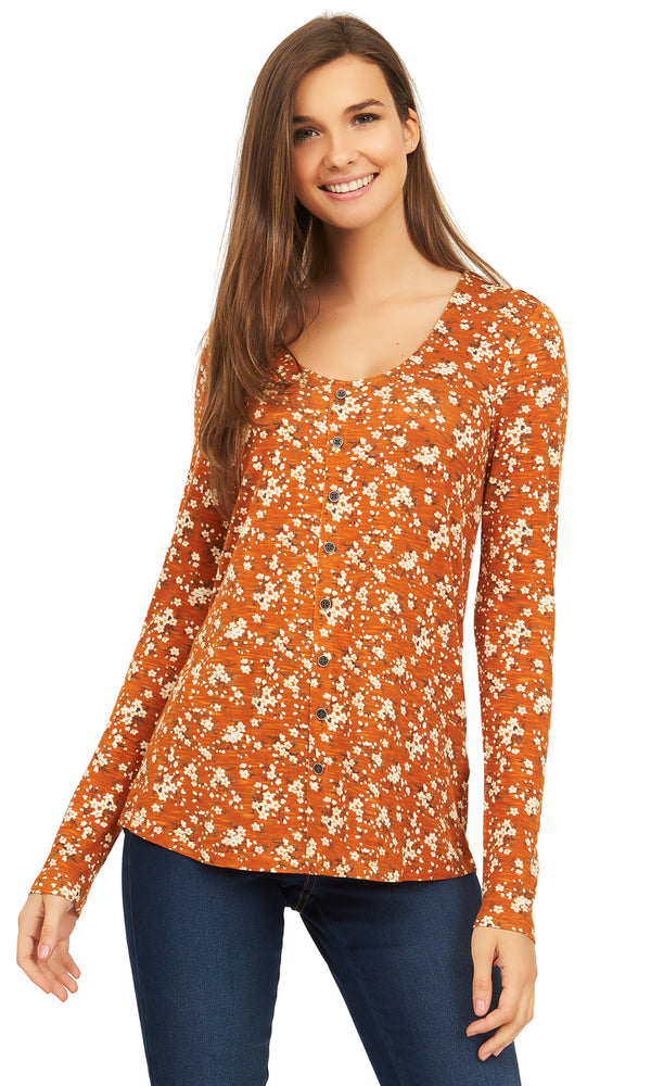 Long Sleeve Printed Jersey Top