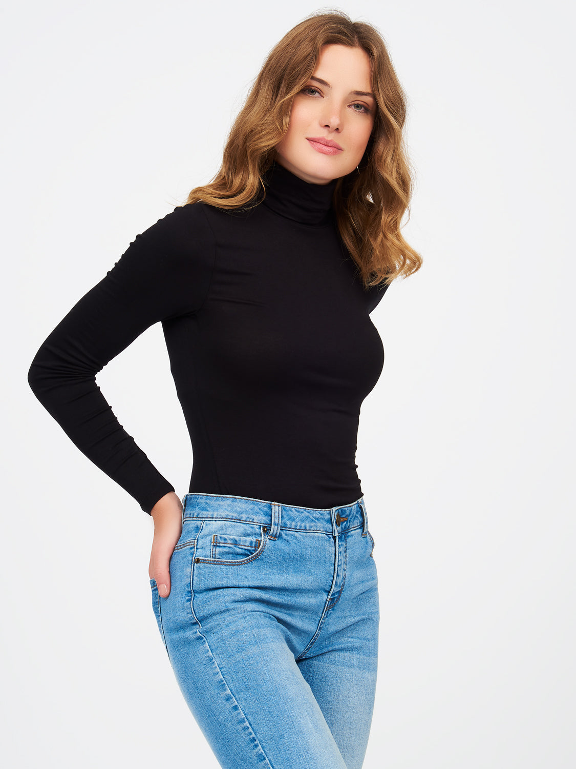Long Sleeve Knit Jersey Turtleneck