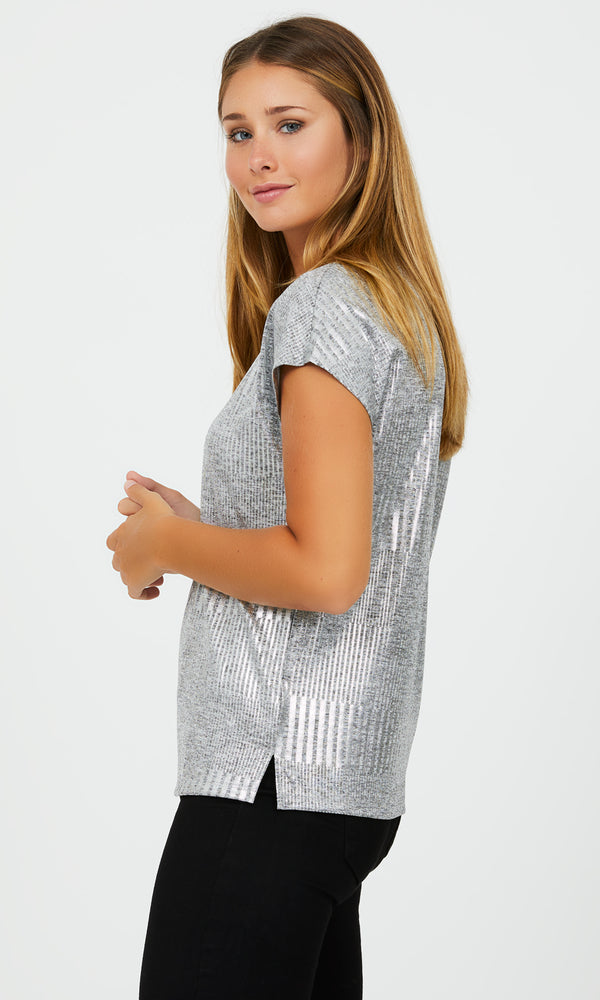 Short Dolman Sleeve Foil Print Knit Top