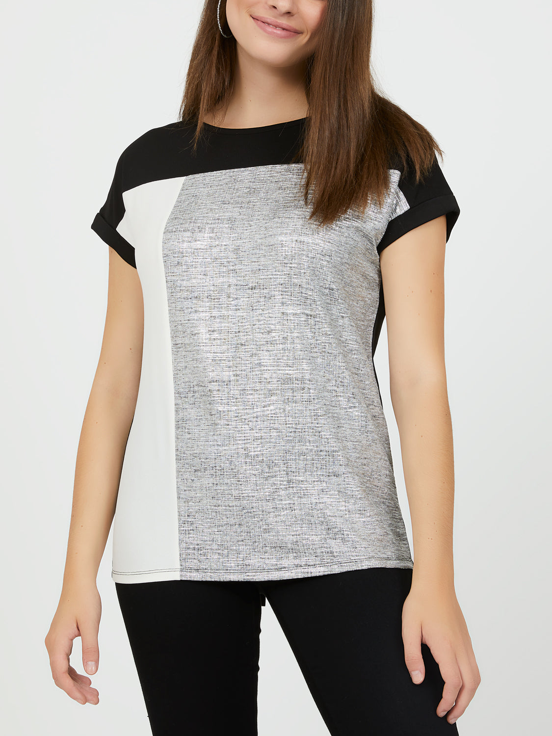 Round Neck Crinkle Foil Colour Block Tee