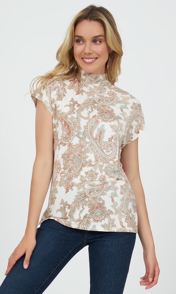 Cap Sleeve Mock Neck Paisley Top