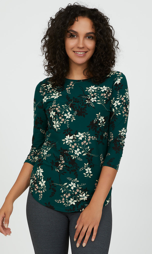 Casual Crew Neck Floral Top