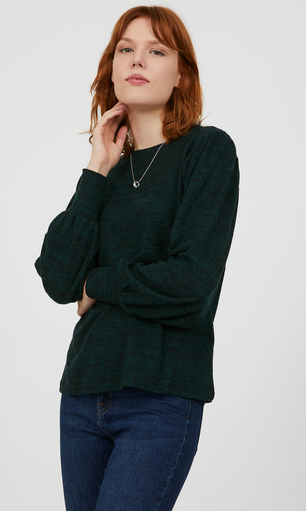Puff Sleeve Mélange Knit Top