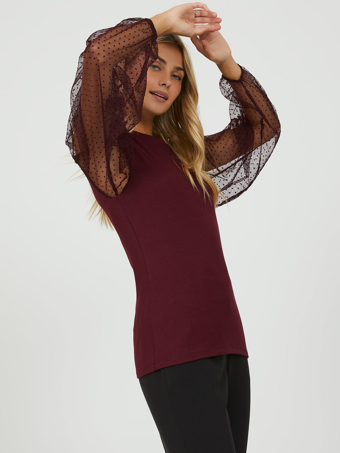 Puffy Mesh Sleeve Top