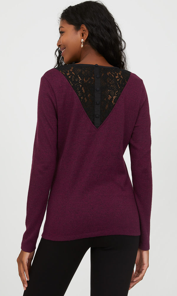 Lace Back Knitted Top