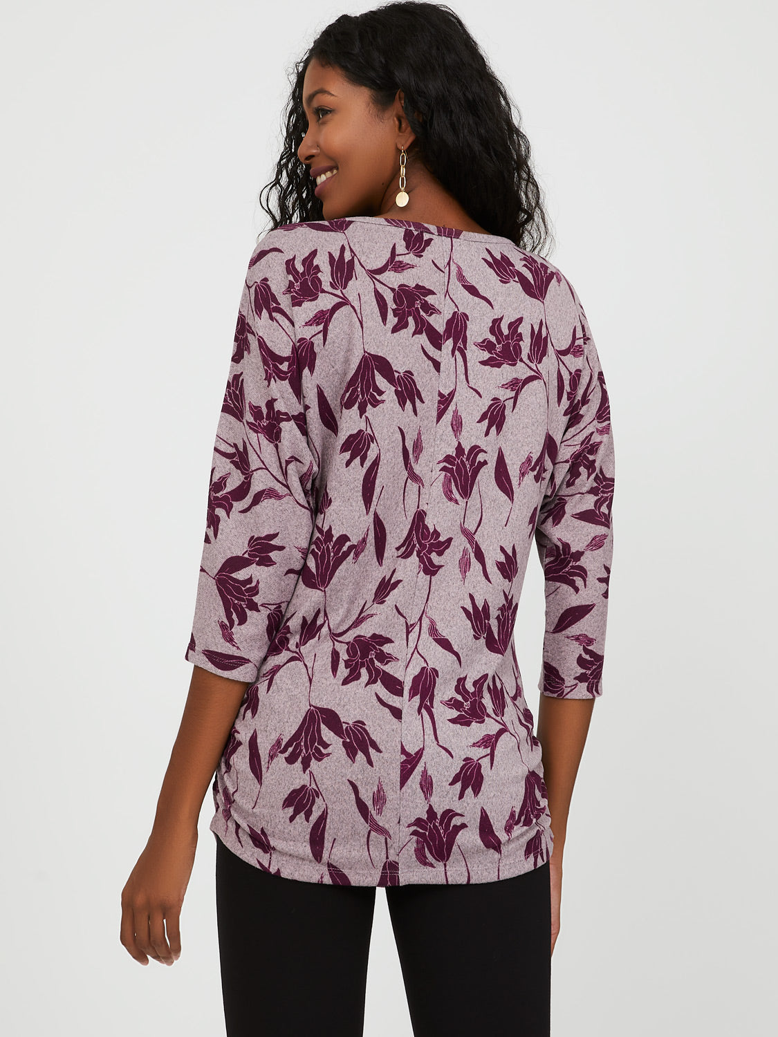 Ruched Side Floral Top