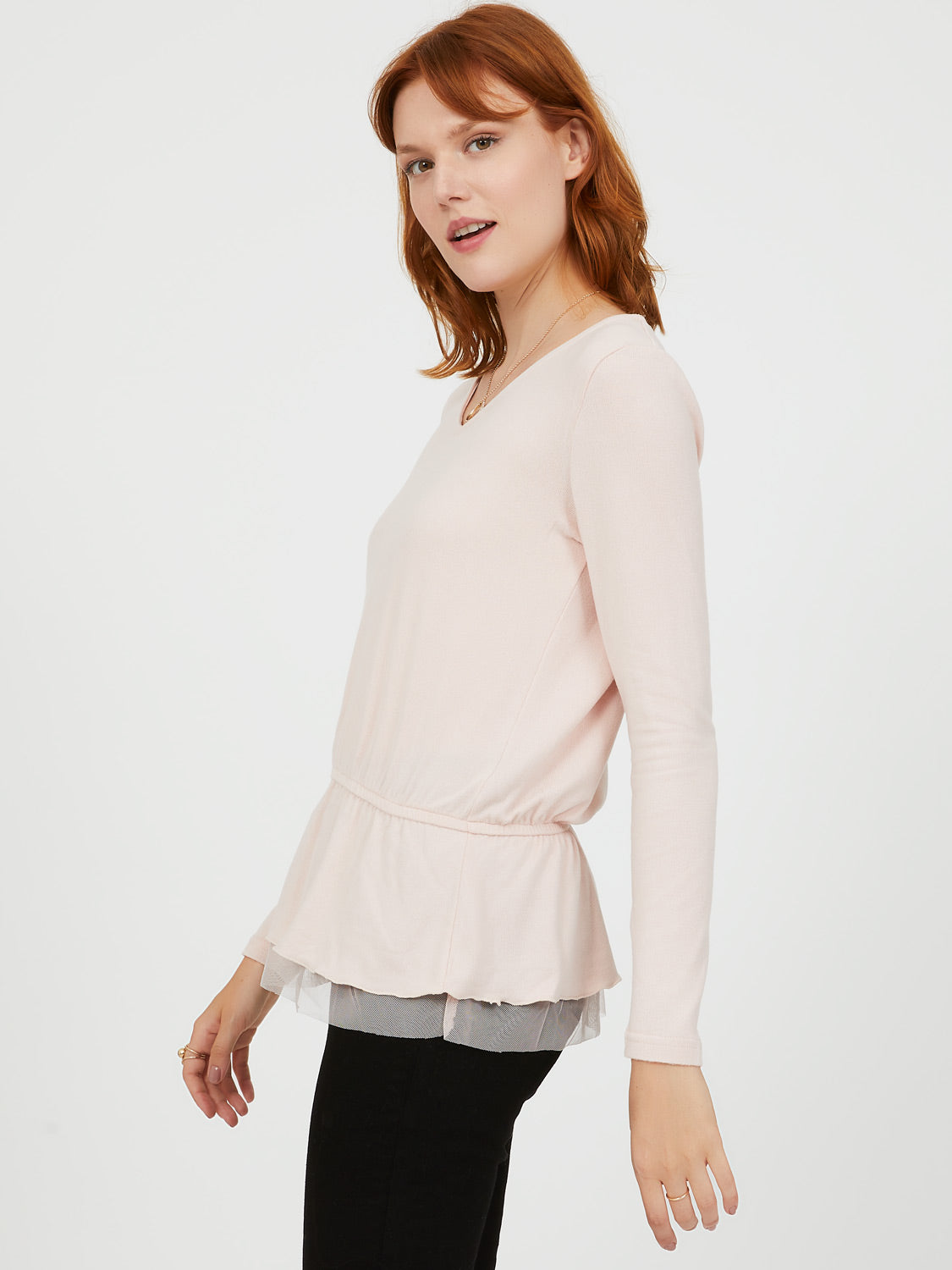 Peplum Mesh Top