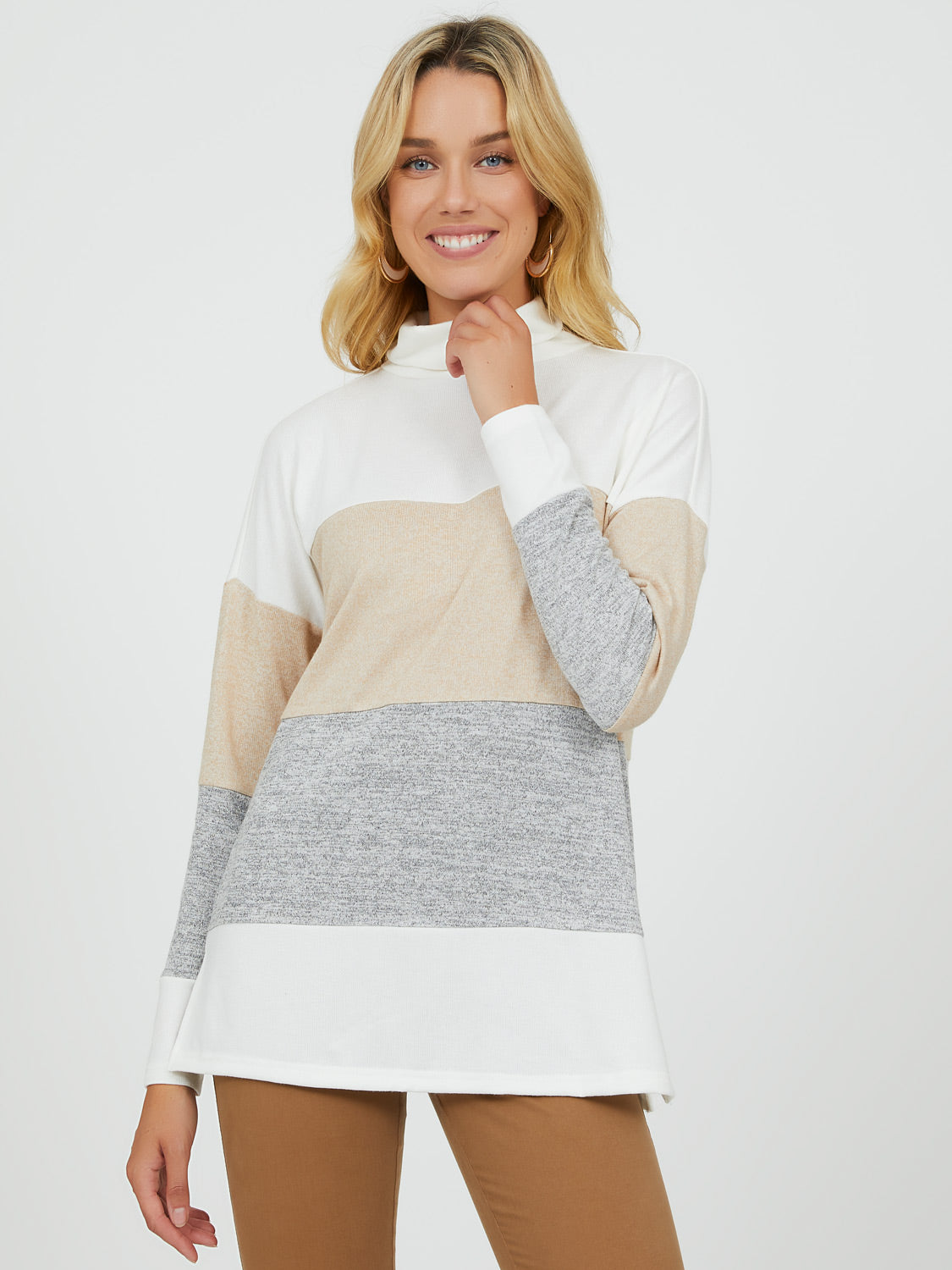 Colour Block Turtleneck Top