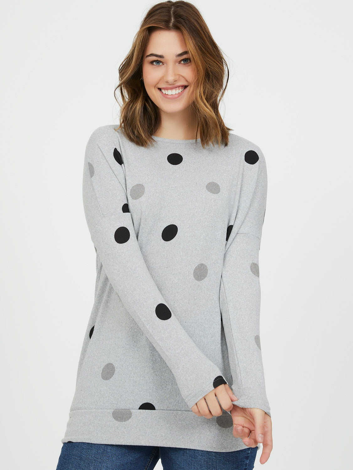 Melange Knit Dotted Print Top
