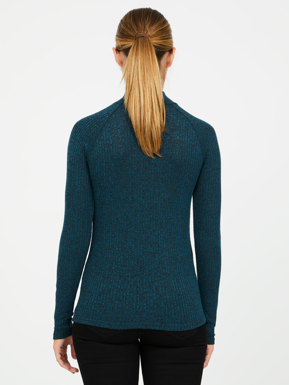 Brushed Mélange Rib Knit Top