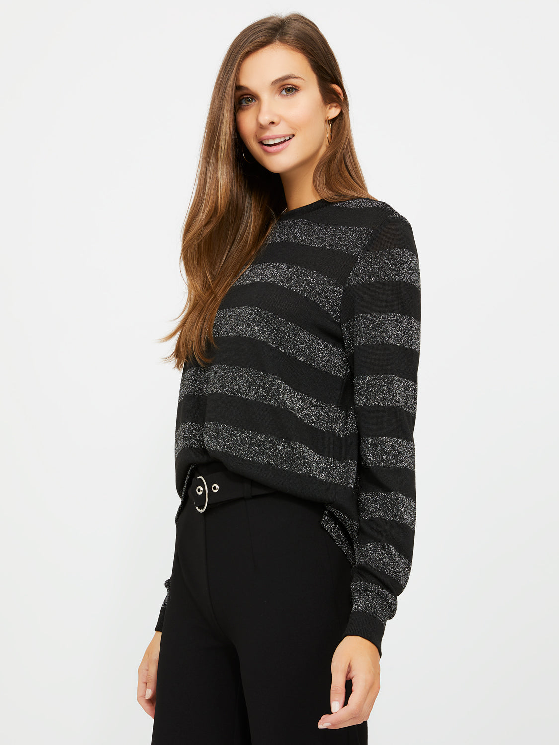 Long Sleeve Striped Sweater Knit