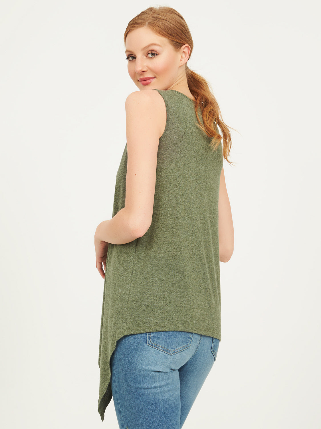 Sleeveless Hacci Asymmetrical Tank Top