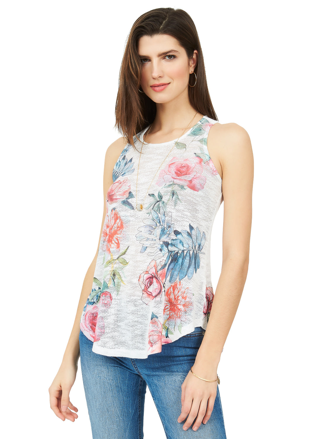 Scoop Neck Floral Sweater Tank Top
