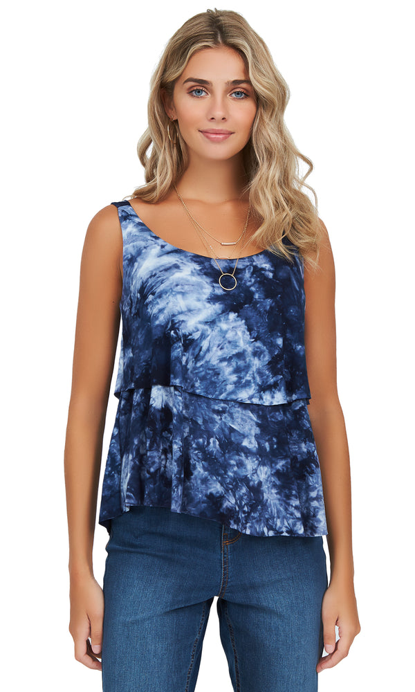 Tie Dye Jersey Scoop Neck Top