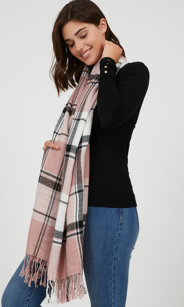 Fringe Madras Plaid Scarf