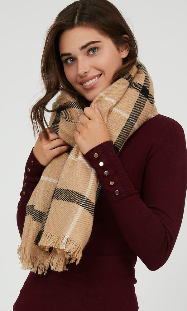 Fringe Check Plaid Scarf