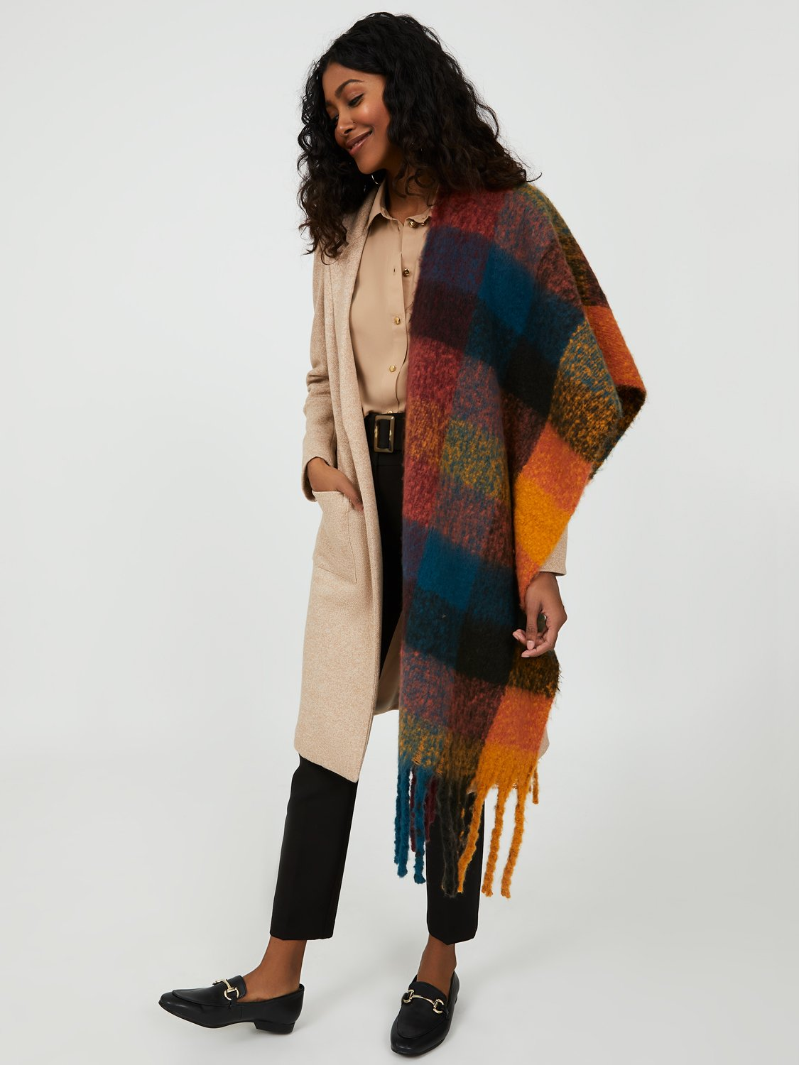 Fringe Autumn Plaid Scarf