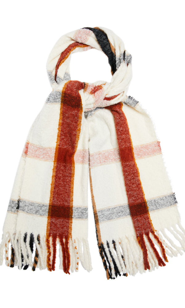 Fringe Textured Plaid Scarf