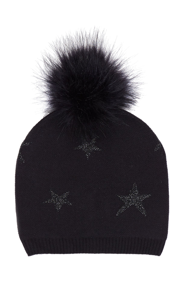 Metallic Star Pom Pom Hat