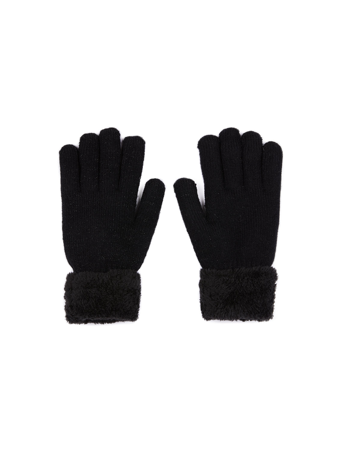 Black Metallic Fiber Gloves