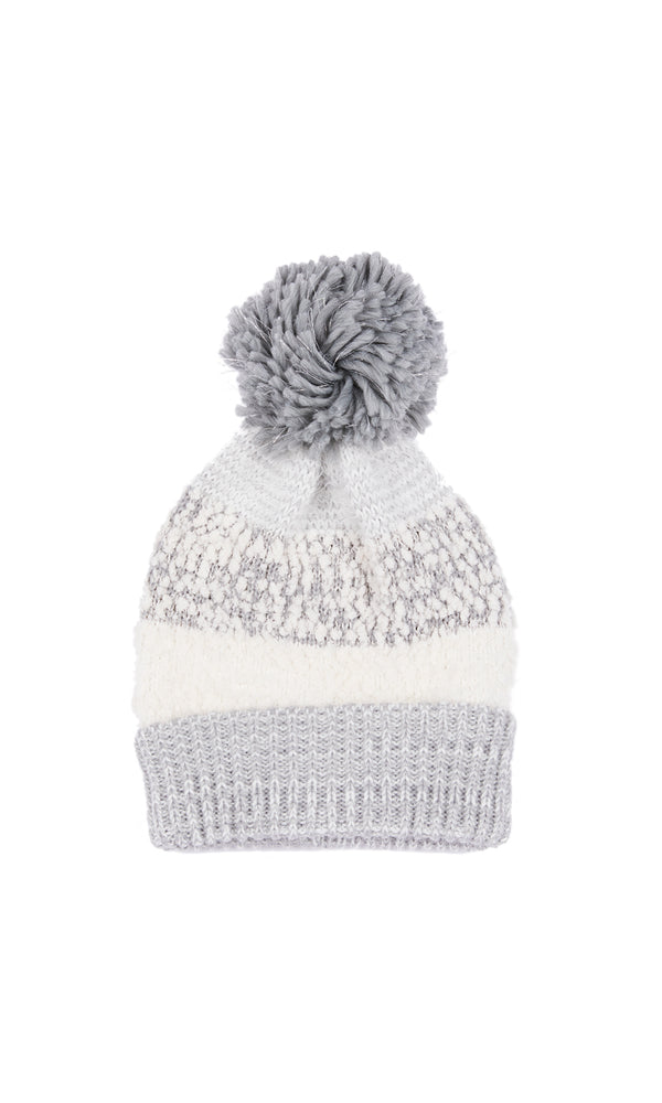 Textured Multimedia Pom Pom Hat