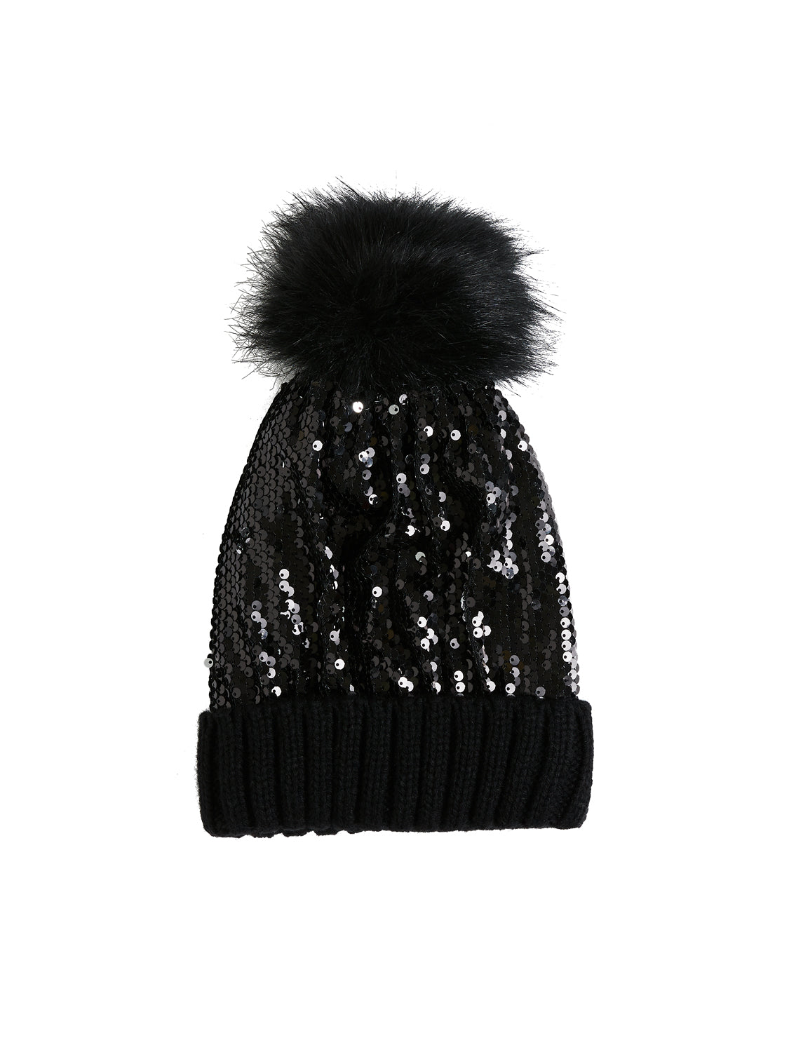 Sequin Pompom Hat With Rib Knit Hem