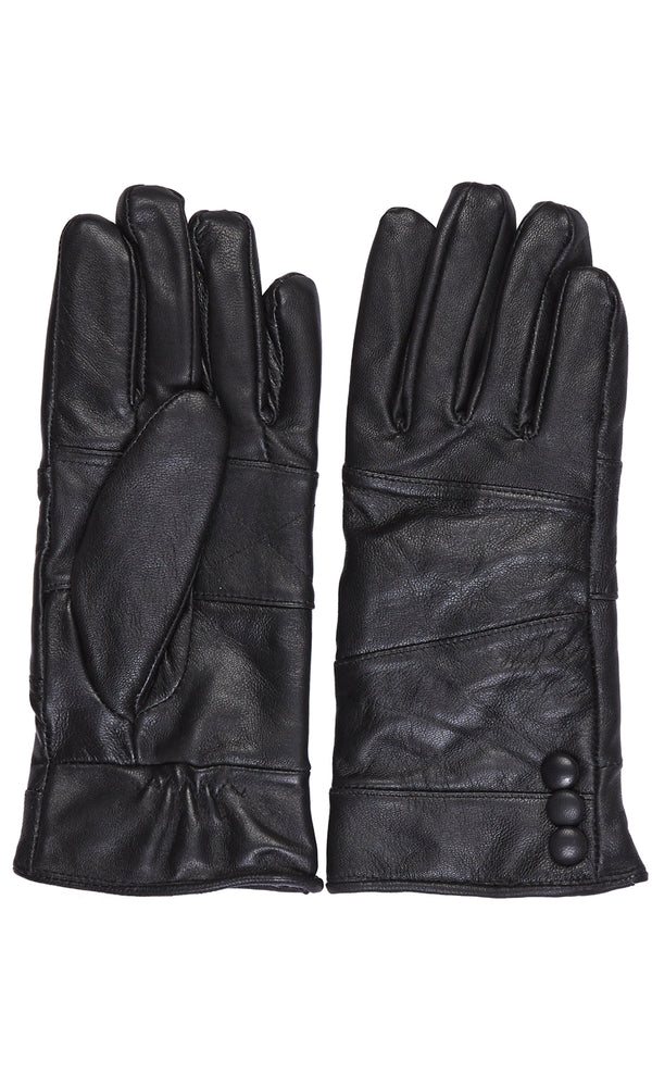 3-Button Leather Gloves