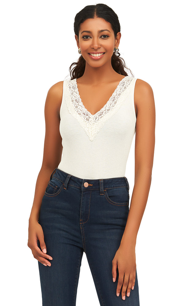 Sleeveless Ribbed Tank Top With Lace