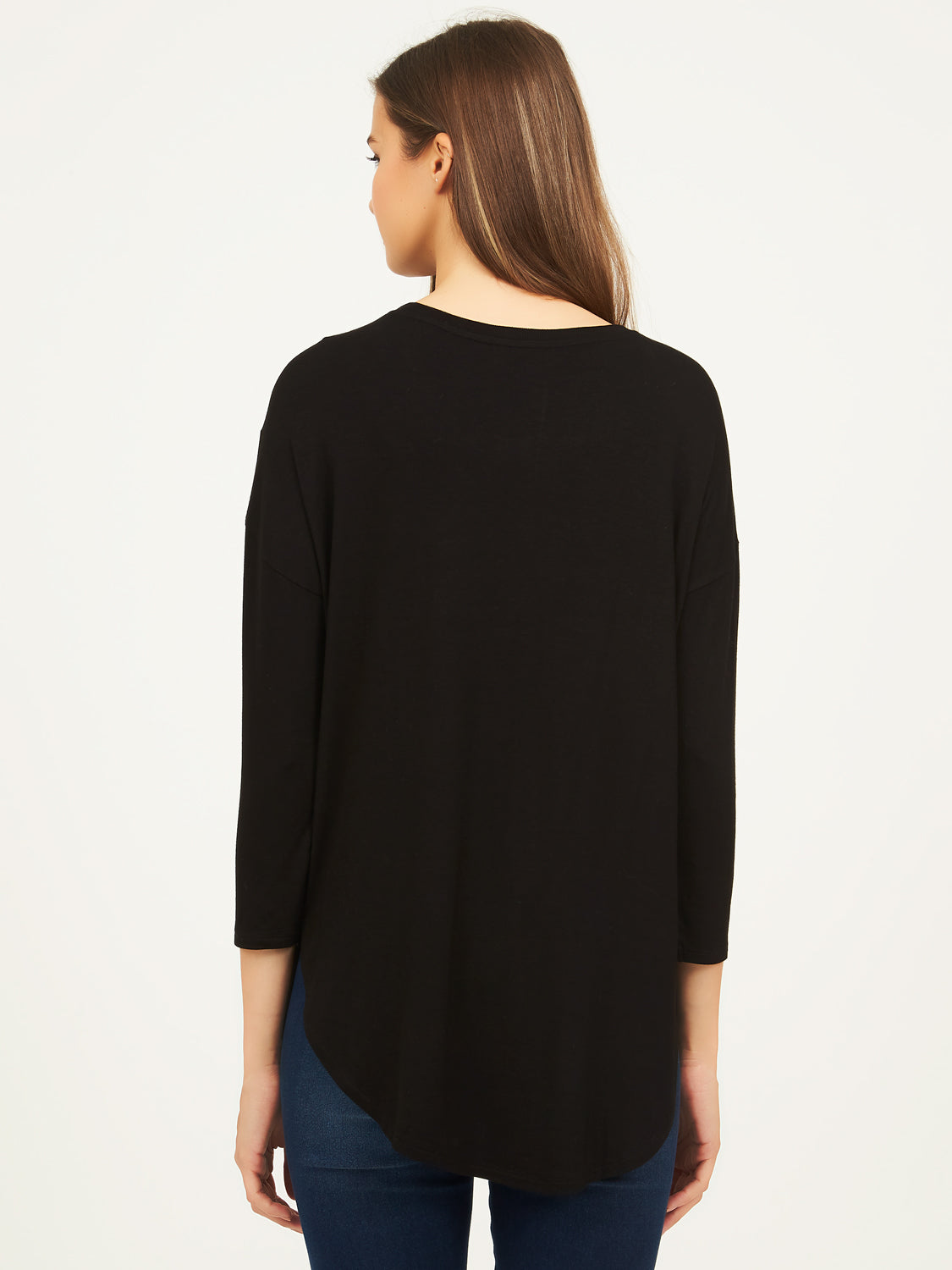 Ribbed Neck Long Sleeve Tee