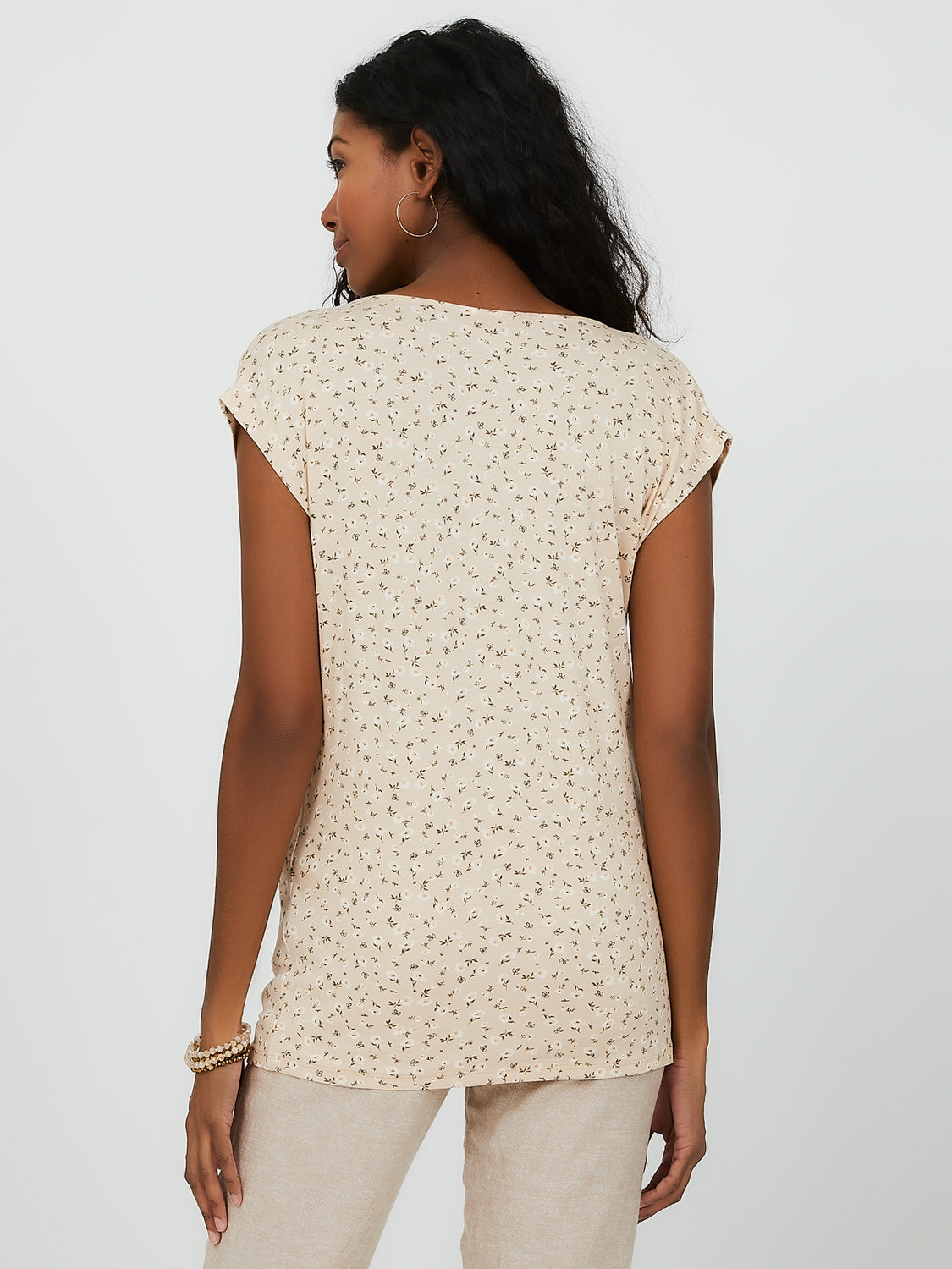 Printed Cap Sleeve Top