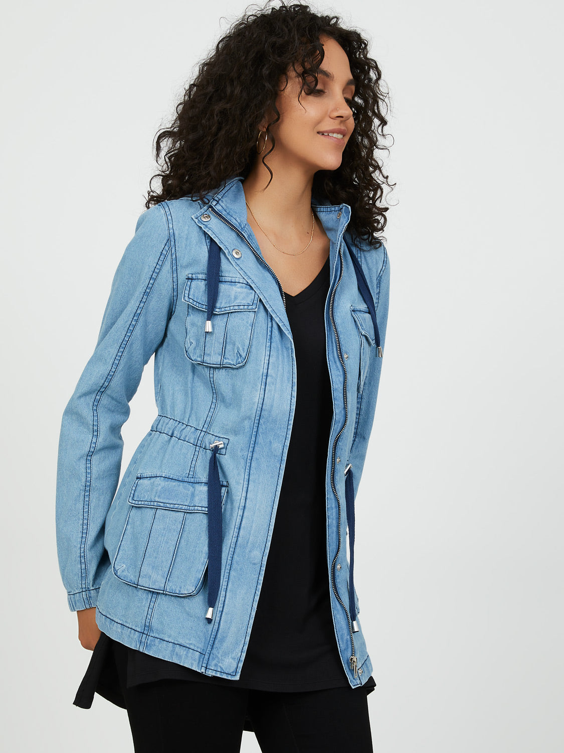Hooded Denim Cargo Jacket