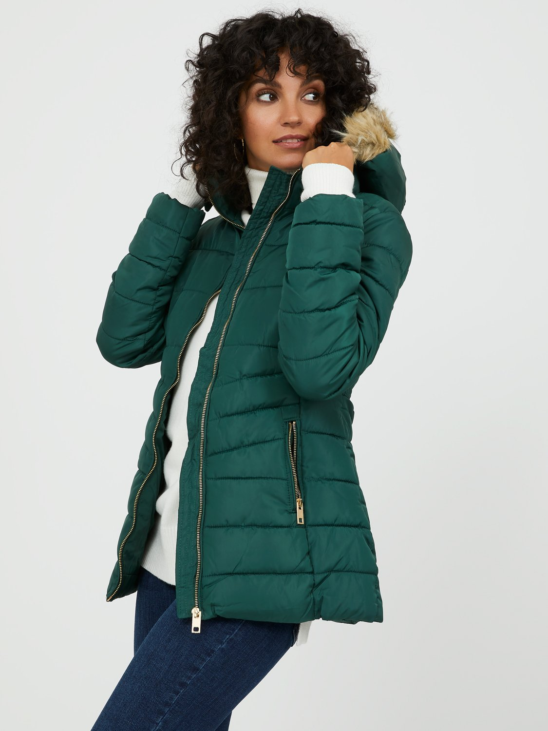 Faux Fur Short Puffer Jacket