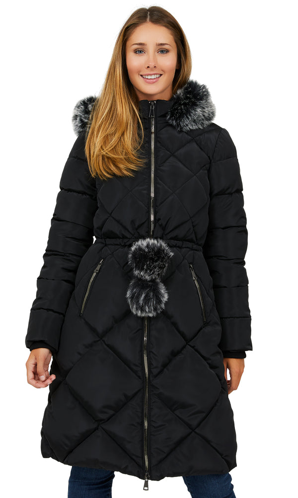 Diamond Quilt Long Puffer Coat