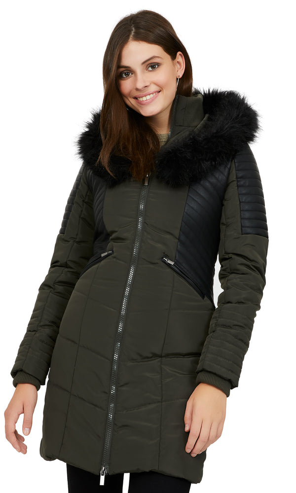Faux Fur Long Puffer Coat