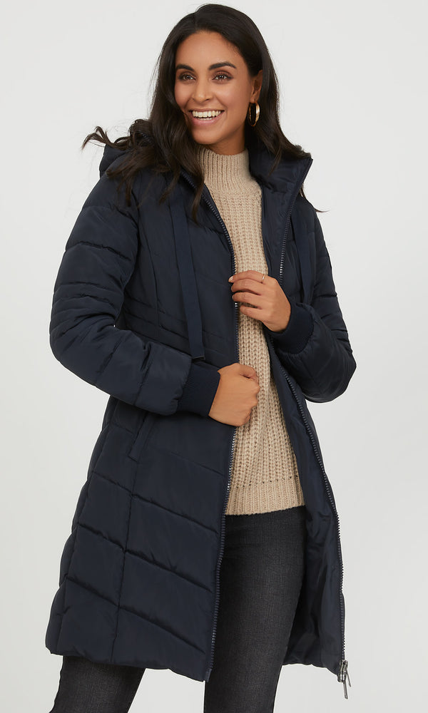 Manteau long à capuche
