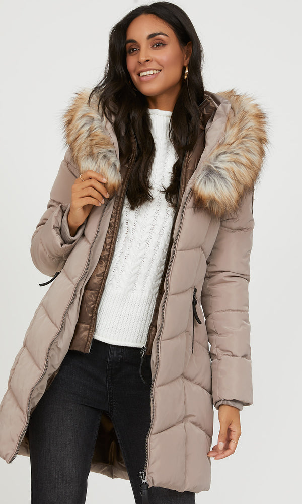 Long Mix Media Puffer Jacket