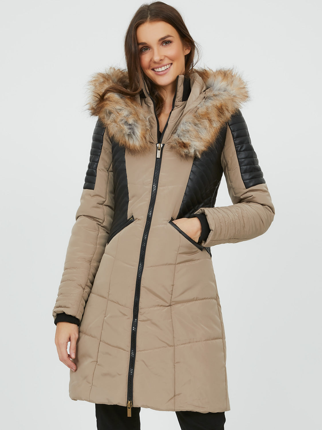 Faux Leather Puffer Jacket