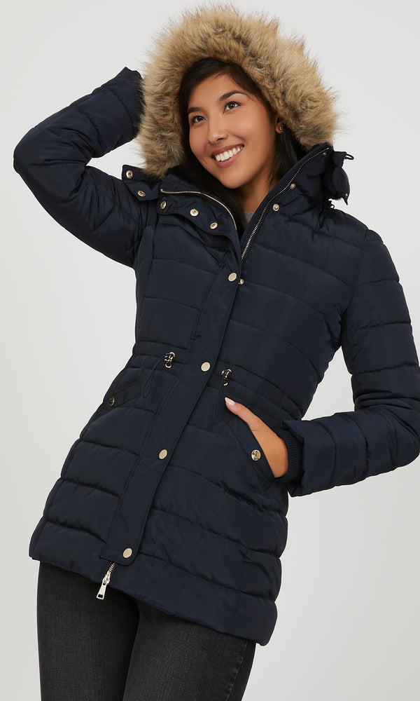 Removable Faux Fur Hood Puffer Jacket