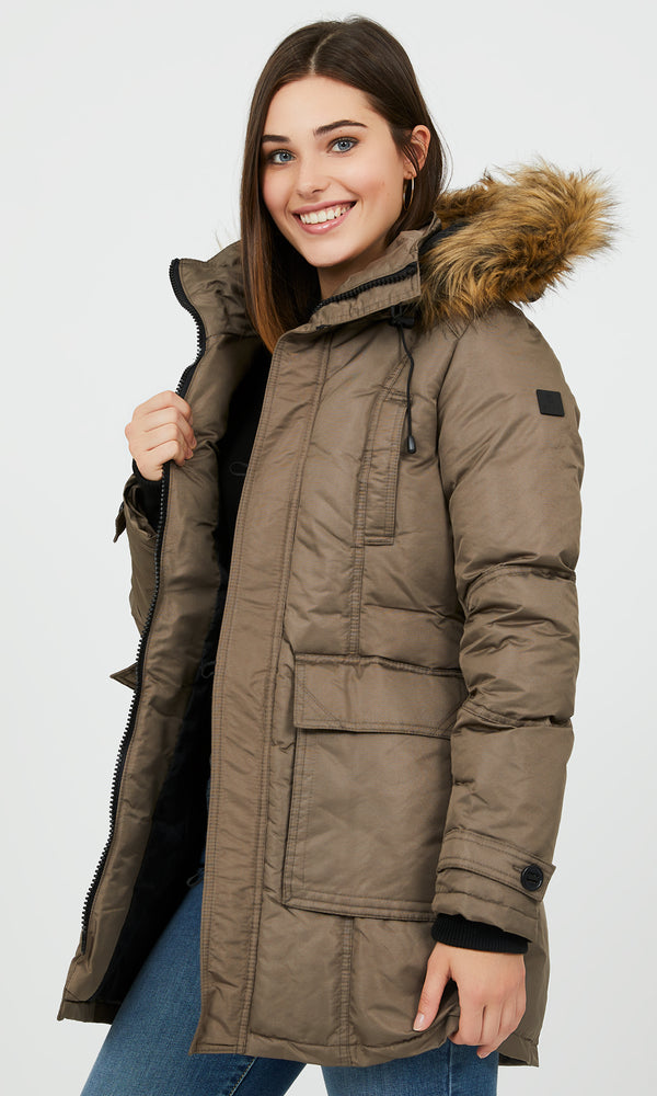 Faux Fur Trim Hood Parka