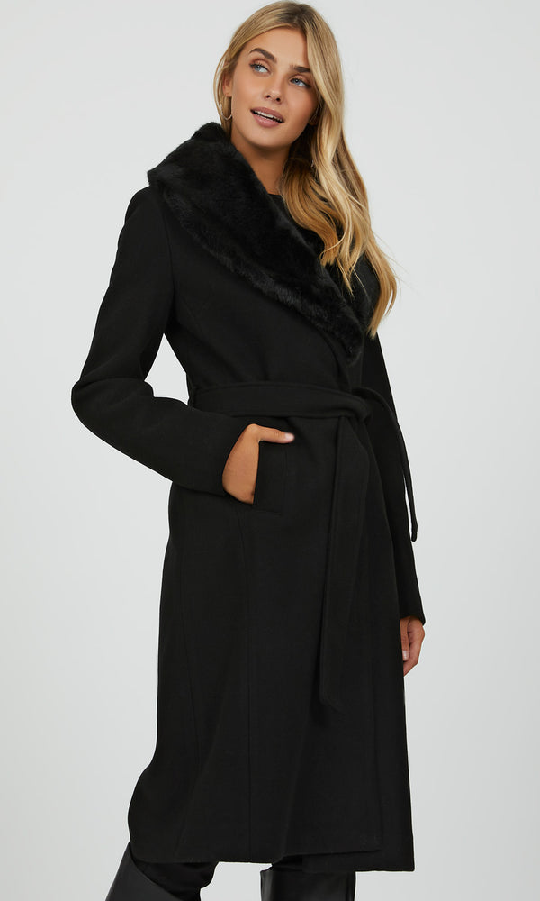Removable Faux Fur Collar Wrap Coat