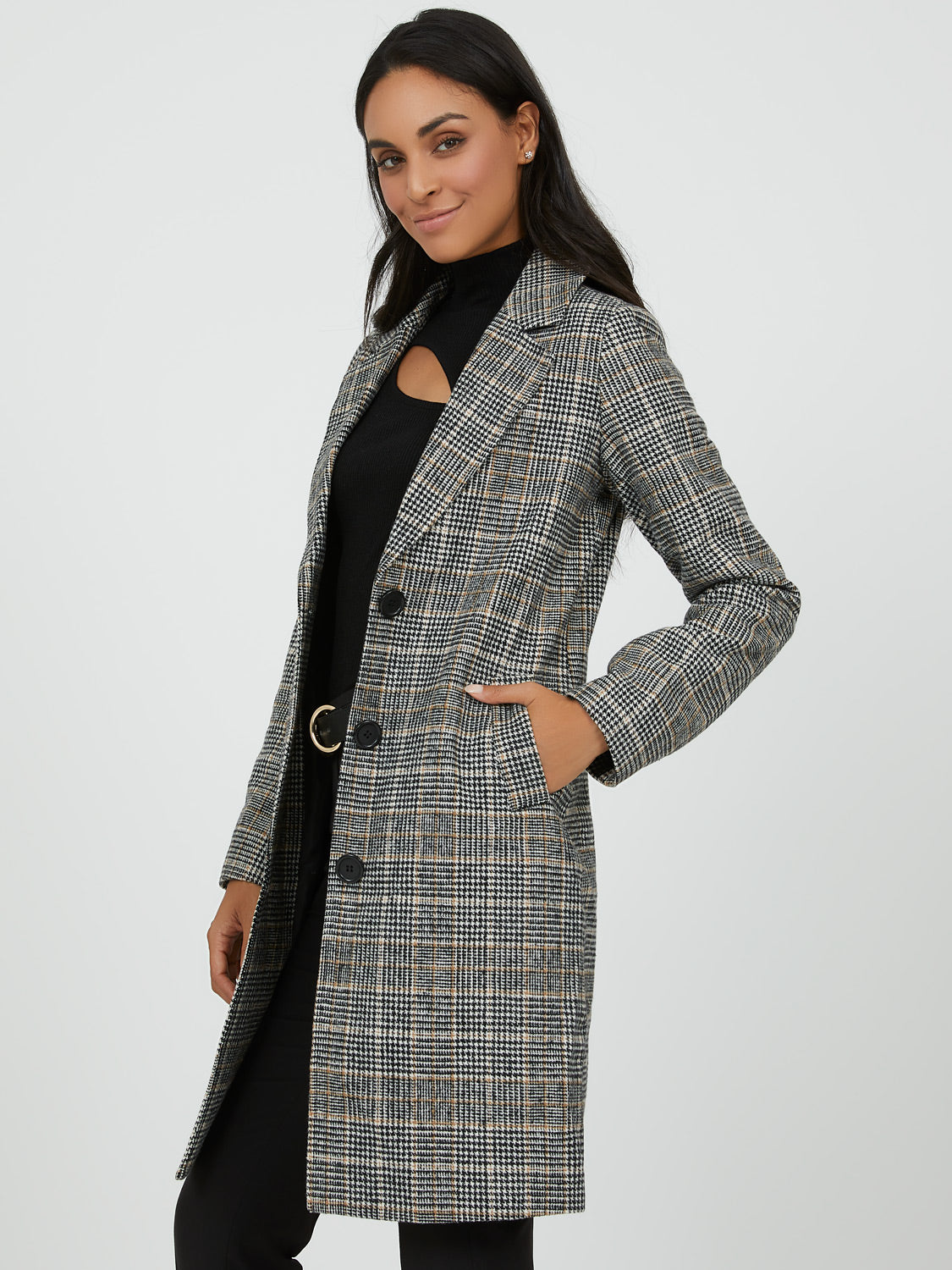 Menswear-Style Plaid Coat
