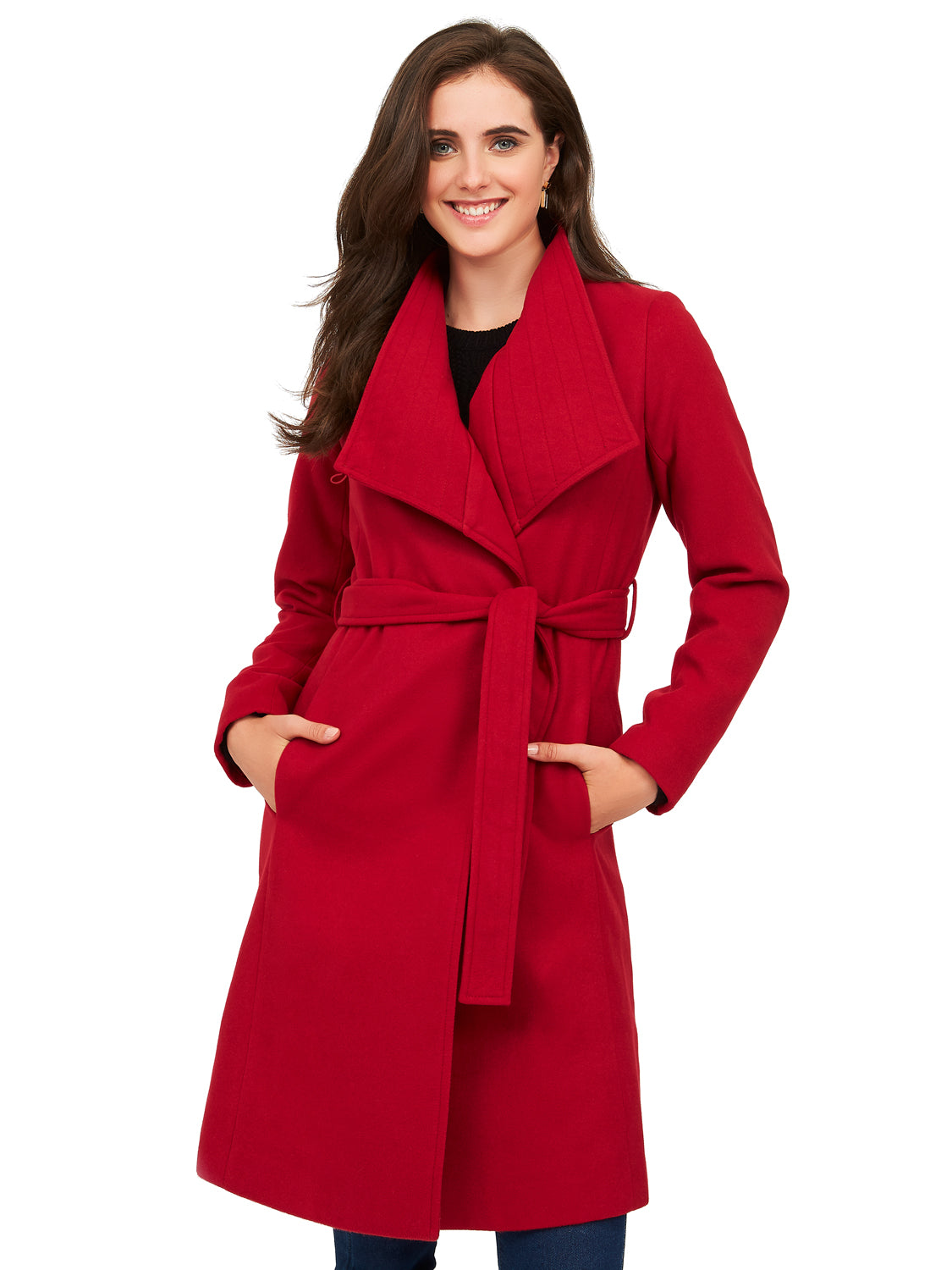Melton Duchess Wrap Coat with Belt Tie