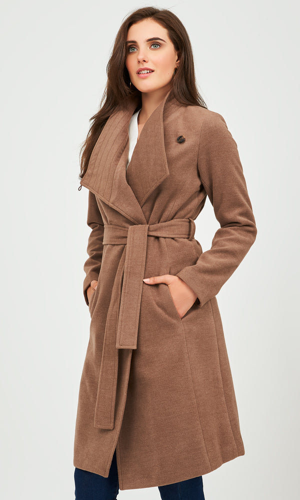 Melton Wrap Jacket with Belt Tie