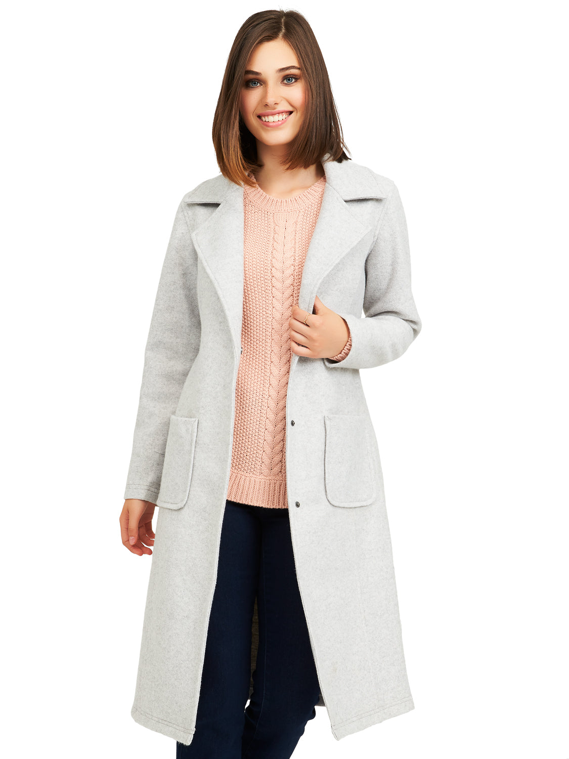 Elongated Brushed Knit Coat