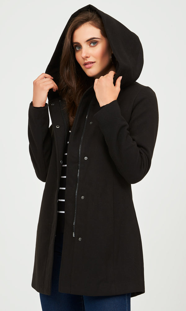 Woven Melton Jacket With Hood